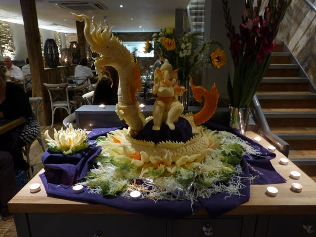 It took the chef at Giggling Squid Billericay three who days to make this amazing sculpture from turnips and carrots